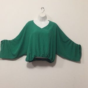 Cute Green Top with Elastic Waist-M